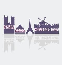Paris city landmarks vector image vector image