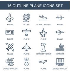 16 plane icons vector
