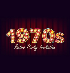1970s retro party invitation 1970 style vector