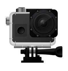 Action camera in waterprobox - sport cam icon vector