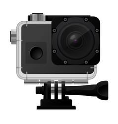 Action camera in waterproof box - sport cam icon vector