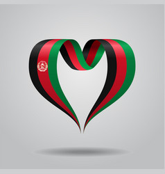 Afghanistan flag heart-shaped ribbon vector