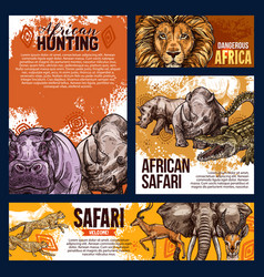 African safari animals sketch vector