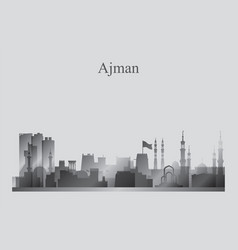 ajman city skyline silhouette in grayscale vector image
