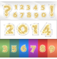 alphabet golden numbers vector image