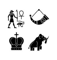 Ancestors heritage black glyph icons set on white vector