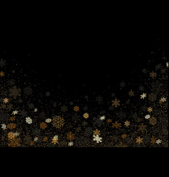 black background with falling colored snowflakes vector image