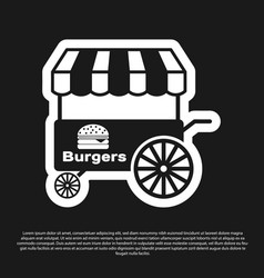 Black fast street food cart with awning icon vector