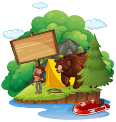 board template with camper and bear vector image
