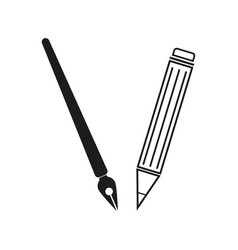 Brush and pencil sign black vector