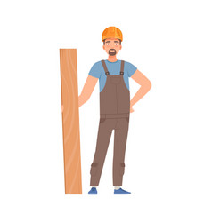 builder in gray overalls is tearing a board vector image