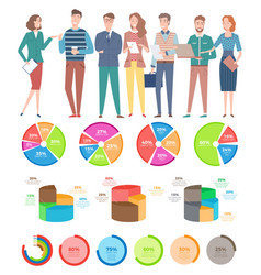 Business meeting people analyzing information vector