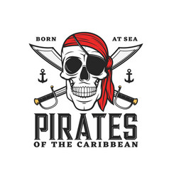 Caribbean pirates icon with skull crossed sabers vector