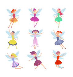 cartoon flying fairies in colorful dresses vector image