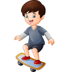 cartoon happy boy playing skateboard vector image