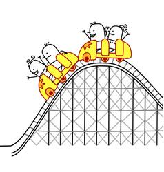 Cartoon people on roller coaster vector