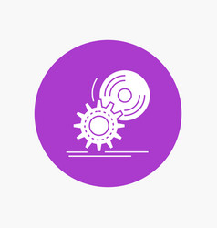 cd disc install software dvd white glyph icon in vector image