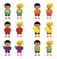 Children holding vegetables item vector