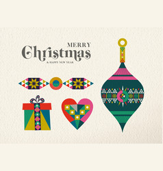 Christmas and new year retro holiday ornament card vector