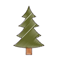christmas tree with trunk on color crayon vector image