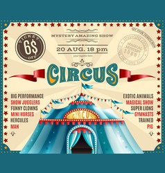 circus performance announcement retro poster vector image