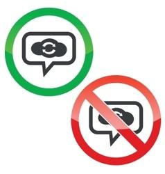 Cloud exchange message permission signs vector image