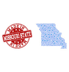 Collage map of missouri state with wheel vector