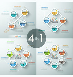 Collection of 4 infographic design layouts vector