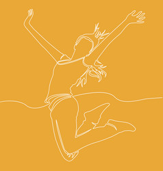 Continuous line drawing of happy jumping woman vector