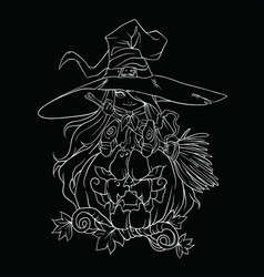 contour drawing of a witch with a halloween vector image
