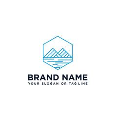 Creative mountain and river logo vector