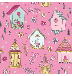 Cute Bird House Background - Seamless Pattern vector image