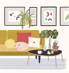 cute cozy room with cat sleeping on comfy sofa vector image