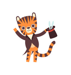 cute little tiger magician performing his trick vector image