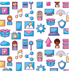 data center icons pattern vector image