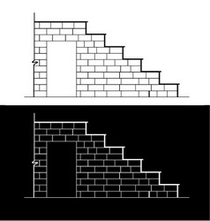 Drawing of a brick stair with stone or marble slab vector image