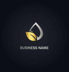 eco leaf droplet bio gold logo vector image