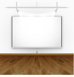 empty room with wooden floor illumination and vector image