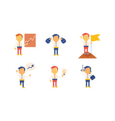 flat set businessman in working actions vector image