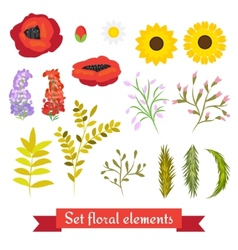 floral set Collection leaves and flowers vector image