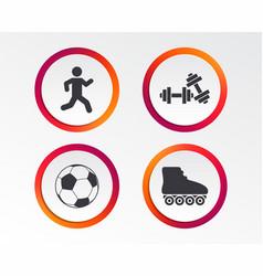 football ball roller skates running icons vector image