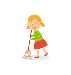 Funny little girl sweeping floor with big broom vector
