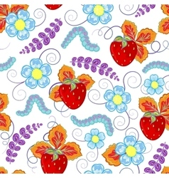 funny seamless pattern with strawberry vector image