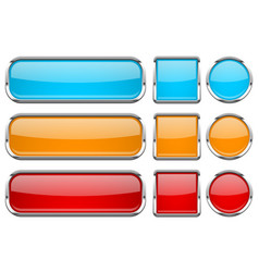 Glass buttons with chrome frame set of colored vector