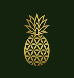Golden creative pineapple logo design vector
