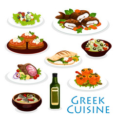 Greek cuisine dinner icon with mediterranean food vector