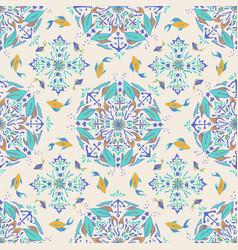 green fish mandala pattern on a cream color tile vector image