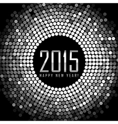 Happy New Year 2015 - frame with silver disco vector image