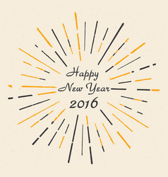 happy new year 2016 hand drawn vintage style ep vector image