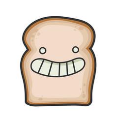 happy smiling slice bread cartoon vector image